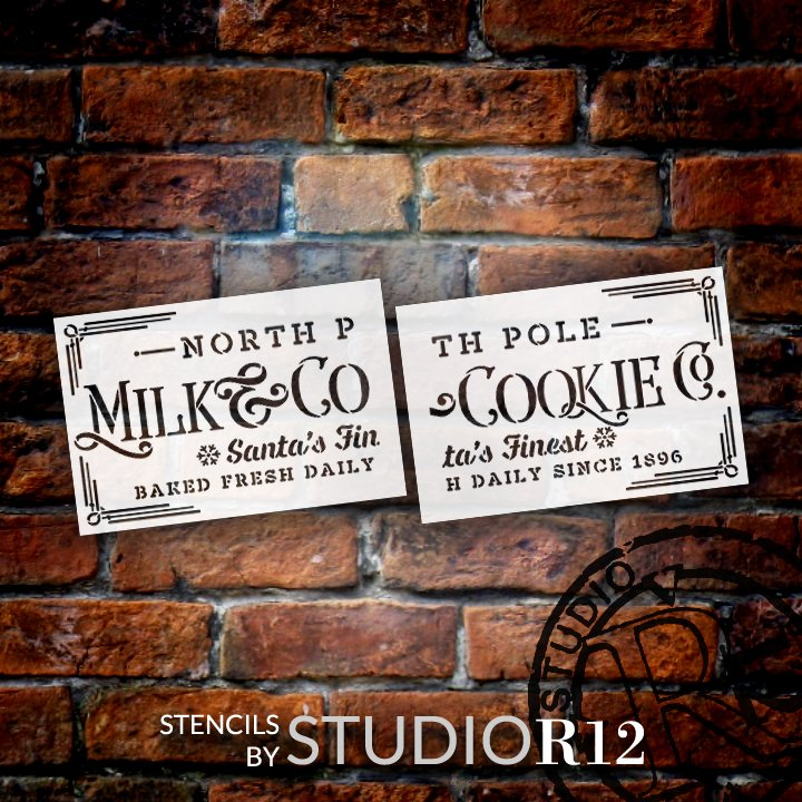 """Milk & Cookie Co. Stencil by StudioR12   Santa North Pole Snowflake   DIY Christmas Winter Holiday Home Decor   Craft & Paint Wood Sign   2 Part Extra Large Reusable Mylar Template   Size (46"""" x 20"""")"""