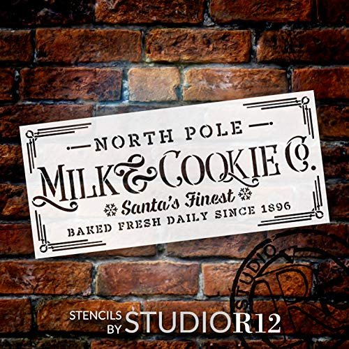 Milk & Cookie Stencil by StudioR12 | Reusable Mylar Template | Paint Wood Sign | Santa North Pole Snowflake Word Art | Craft Christmas Home Decor DIY Vintage Farmhouse Holiday Select Size