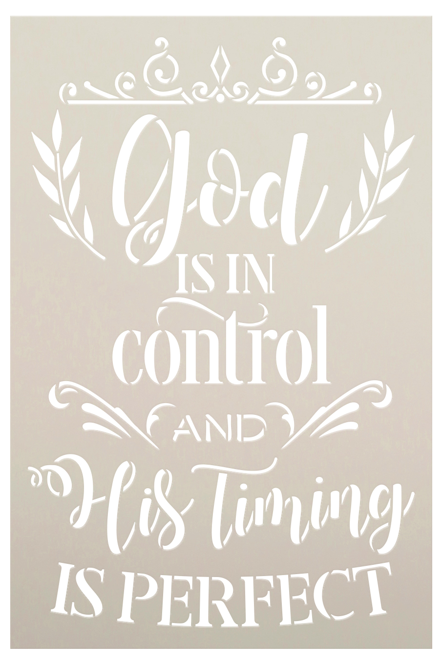 God is in Control His Timing is Perfect Stencil with Laurels by StudioR12   DIY Inspirational Faith Quote Home Decor   Select Size