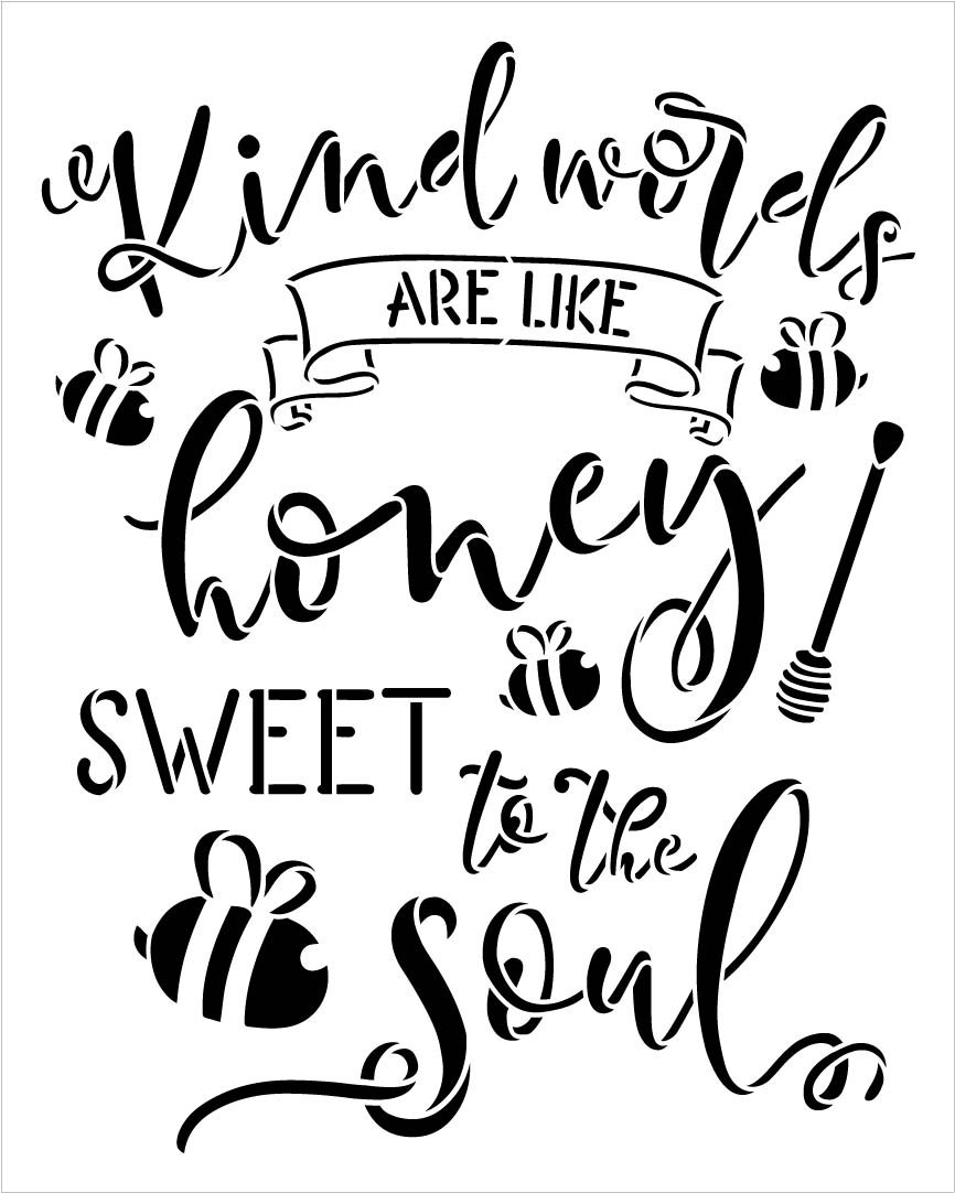 Kind Words are Like Honey Stencil with Bees by StudioR12 | DIY Inspirational Farmhouse Home Decor | Paint Wood Signs | Select Size (15 x 12 inch)
