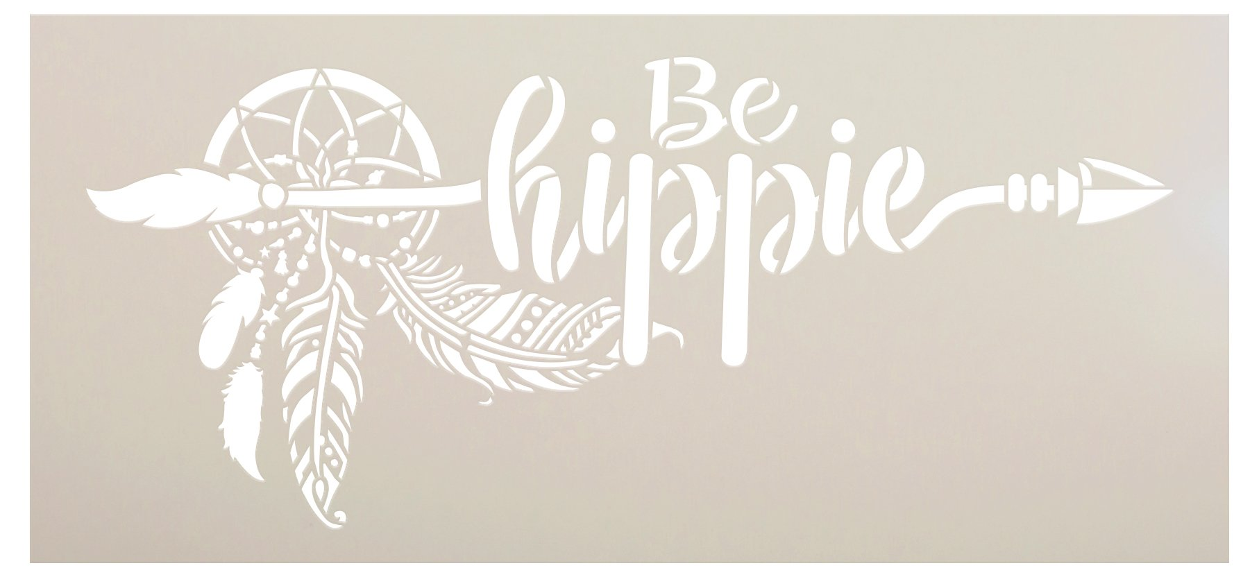 Be Hippie Stencil by StudioR12 | DIY Boho Bohemian Dream Catcher Home Decor Gift | Craft & Paint Wood Sign | Reusable Mylar Template | Select Size