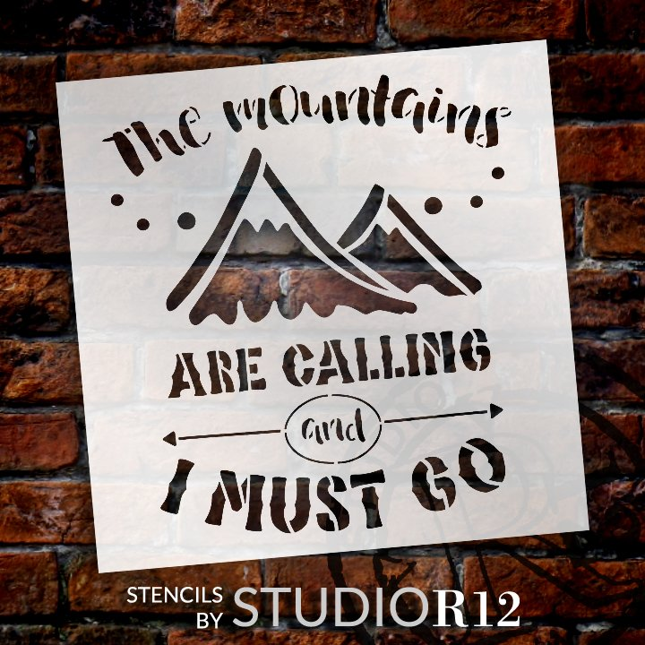 Mountains are Calling Stencil by StudioR12 | DIY Travel & Adventure Camper Home Decor | Craft & Paint Wood Signs | Select Size