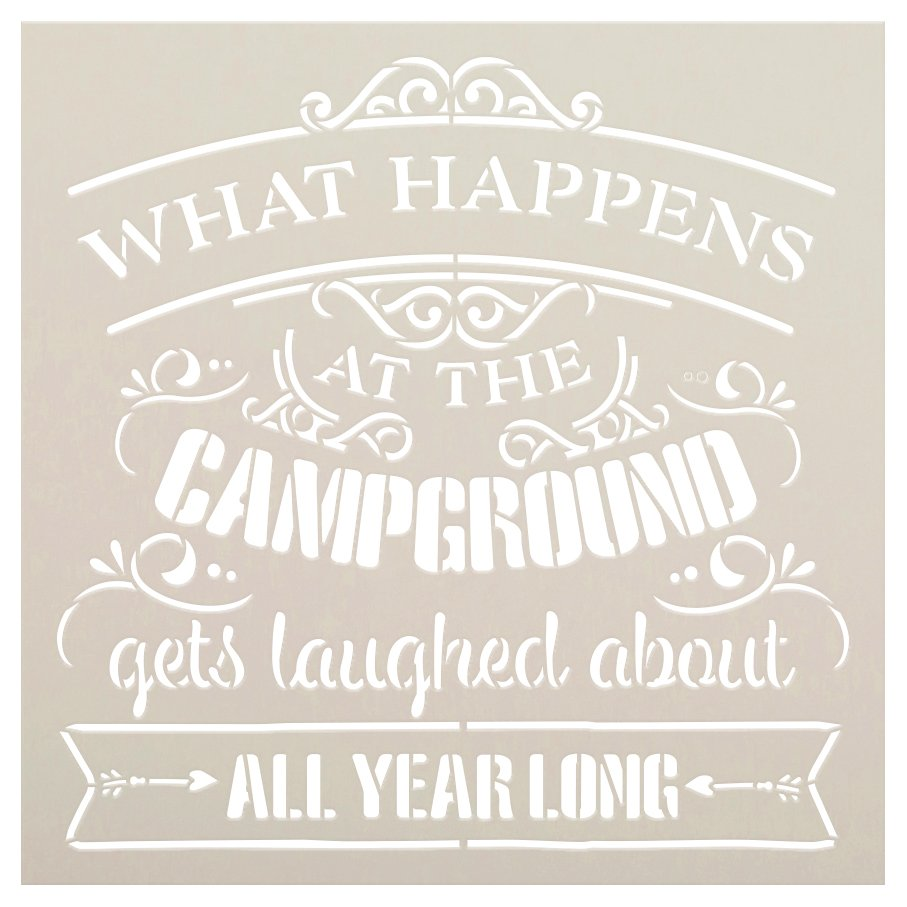 What Happens at The Campground Stencil by StudioR12 | DIY Adventure & Camper Home Decor | Craft & Paint Wood Signs | Select Size