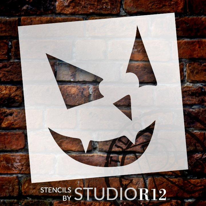 Sinister Jack-O-Lantern Stencil by StudioR12   Craft & Paint DIY Halloween Decor   Fall Pumpkin Face Pattern Template   Select Size