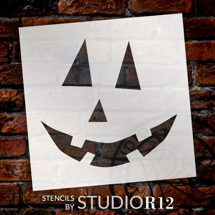 Traditional Jack-O-Lantern Stencil by StudioR12 | Craft & Paint DIY Halloween Decor | Fall Pumpkin Face Pattern Template | Select Size