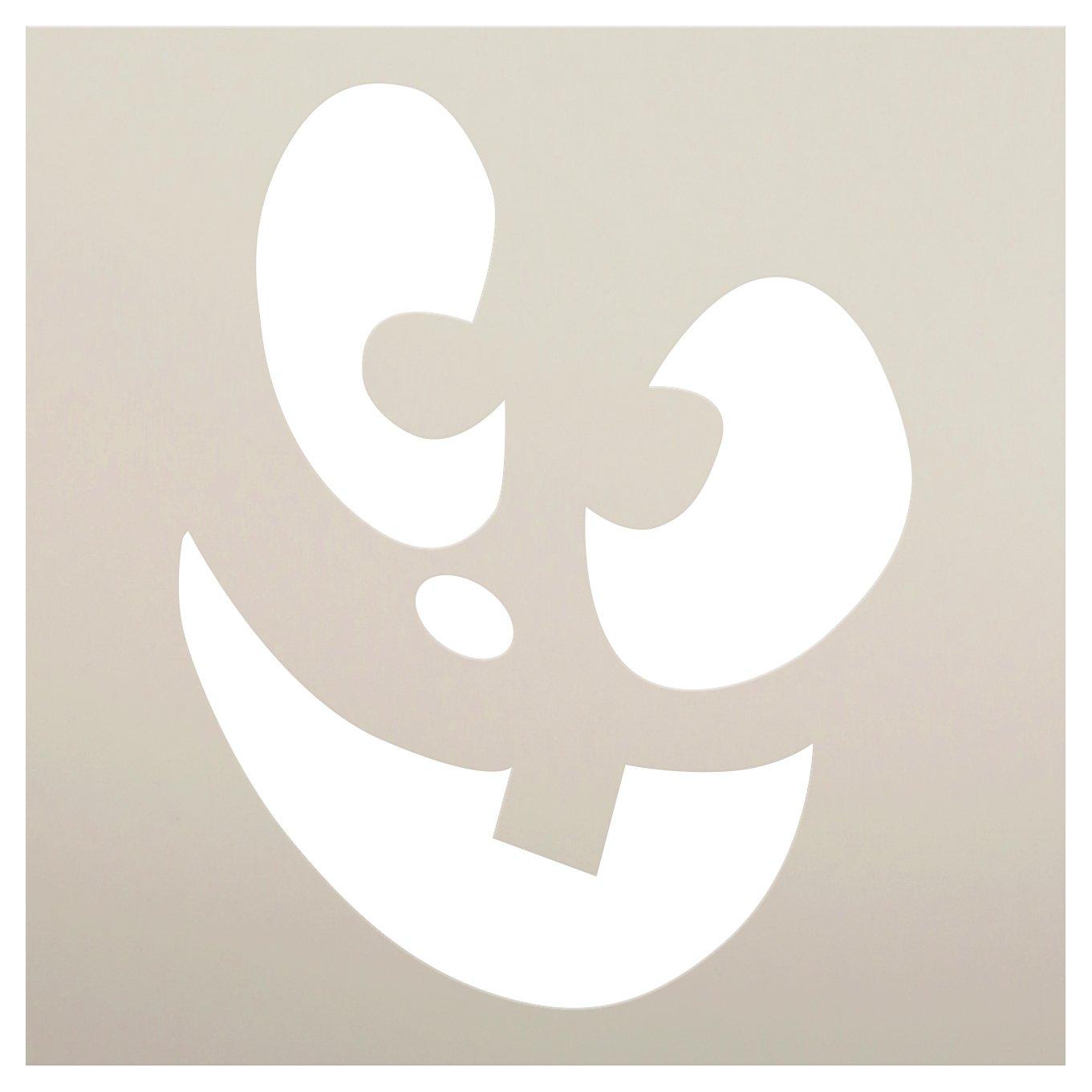 Cheerful Jack-O-Lantern Stencil by StudioR12 | Craft & Paint DIY Halloween Decor | Fall Pumpkin Face Pattern Template | Select Size