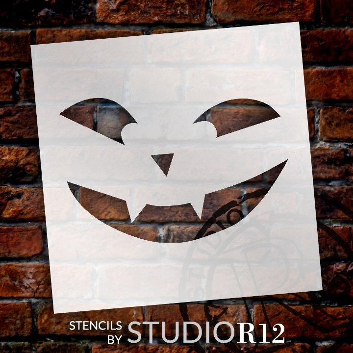 Vampire Jack-O-Lantern Stencil by StudioR12   Craft & Paint DIY Halloween Decor   Fall Pumpkin Face Pattern Template   Select Size