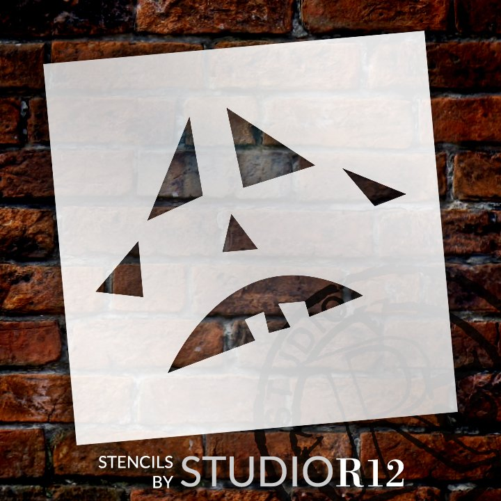 Crying Jack-O-Lantern Stencil by StudioR12 | Craft & Paint DIY Halloween Decor | Fall Pumpkin Face Pattern Template | Select Size