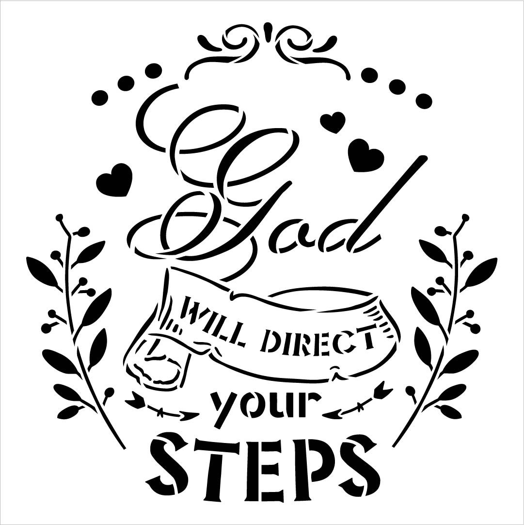 God Will Direct Your Steps Stencil by StudioR12   DIY Inspirational Faith Home Decor   Craft & Paint Farmhouse Wood Sign   Select Size