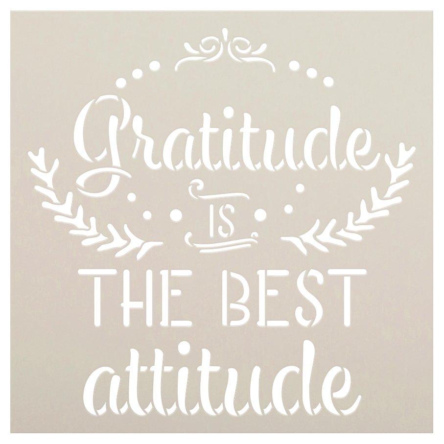 Gratitude is The Best Attitude Stencil by StudioR12   DIY Farmhouse Script Home Decor   Paint Motivational Wood Signs   Select Size