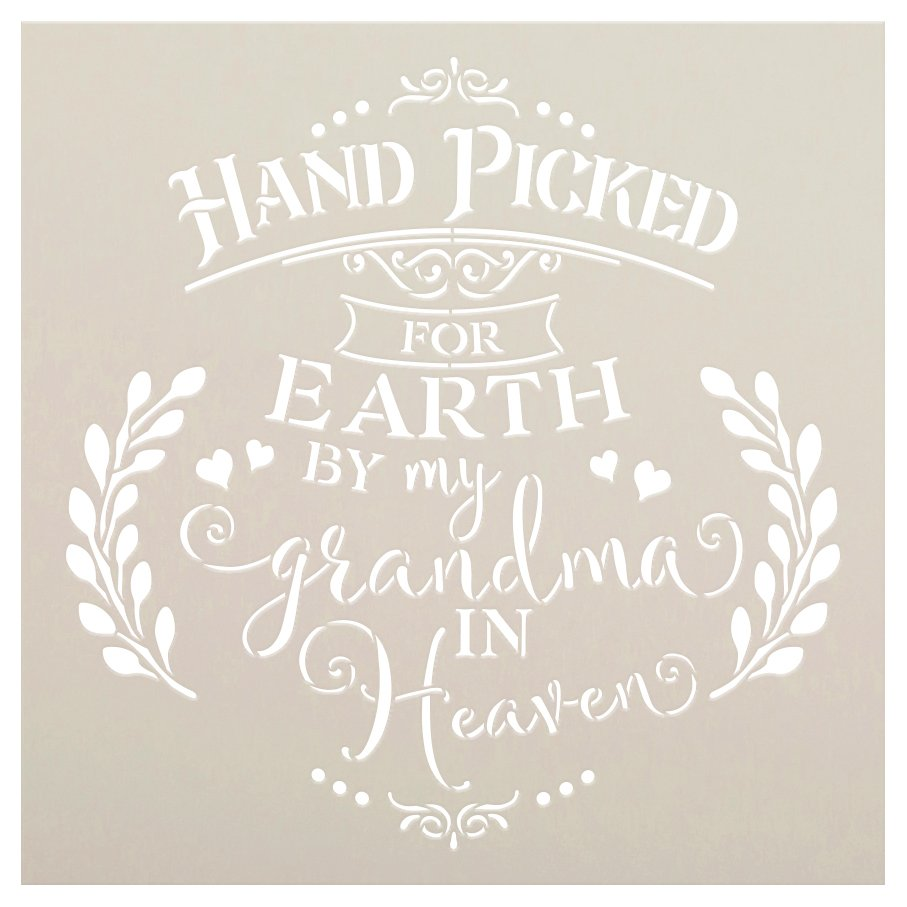 Hand Picked by My Grandma in Heaven Stencil with Hearts by StudioR12 | DIY Script Faith Nursery Decor | Paint Wood Signs | Select Size