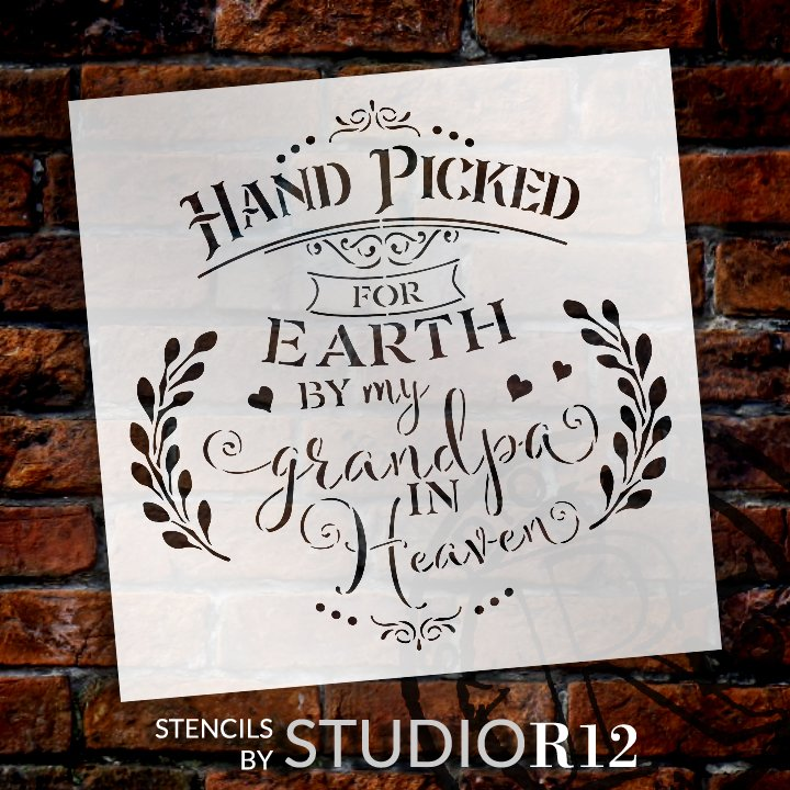 Hand Picked by My Grandpa in Heaven Stencil with Hearts by StudioR12 | DIY Script Faith Nursery Decor | Paint Wood Signs | Select Size