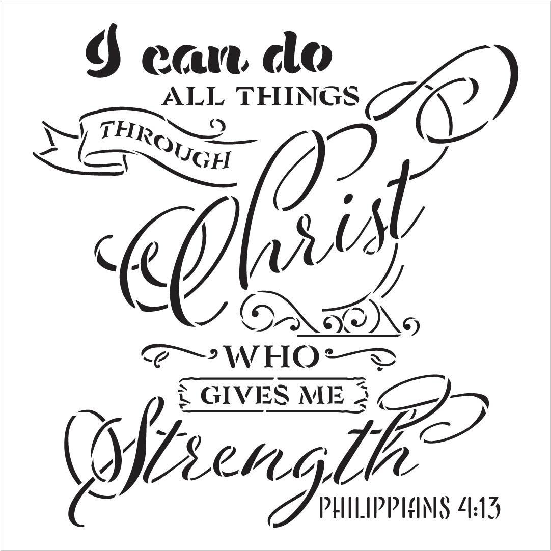 I Can Do All Things Through Christ Script Stencil by StudioR12 | Philippians 4:13 | DIY Faith Bible Verse Home Decor | Select Size