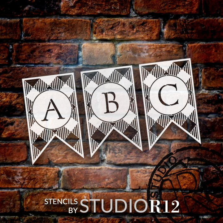 Buffalo Plaid Bunting Stencil by StudioR12   Single Letter or Full Alphabet Set   DIY Rustic Farmhouse Home Decor   Craft & Paint Banners   Select Letter