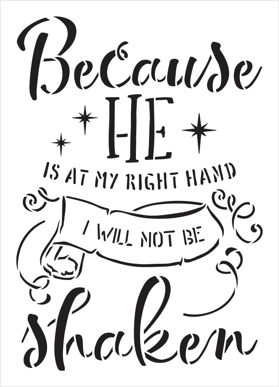I Will Not Be Shaken Stencil by StudioR12 | DIY Farmhouse Faith Home Decor | Craft & Paint Inspirational Wood Signs | Select Size