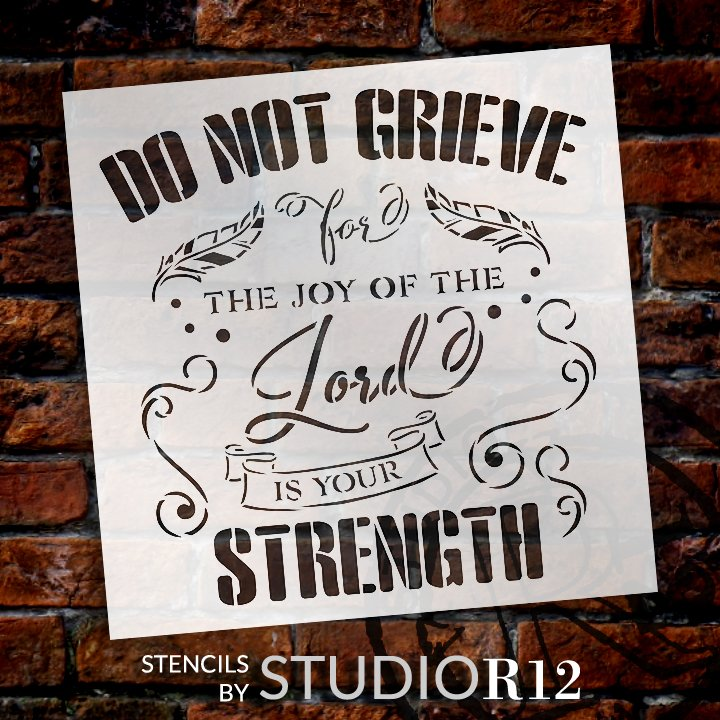 Joy of The Lord is Your Strength Stencil by StudioR!2 | DIY Inspirational Farmhouse Home Decor | Paint Faith Wood Signs | Select Size
