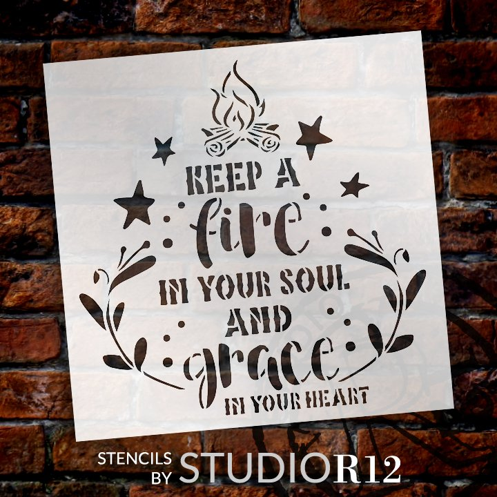 Fire in Your Soul Grace in Your Heart Stencil by StudioR12 | DIY Faith Home Decor | Craft & Paint Inspirational Wood Sign | Select Size