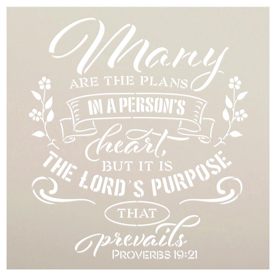 The Lord's Purpose Prevails Stencil by StudioR12   Proverbs 19:21 Bible Verse   DIY Inspirational Faith Farmhouse Home Decor   Select Size