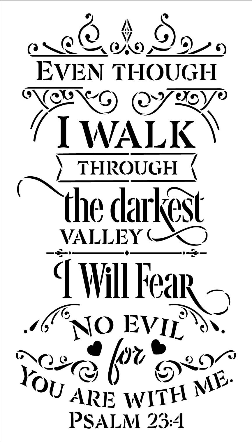 I Will Fear No Evil You are with Me Stencil by StudioR12 | Psalm 23:4 Bible Verse | DIY Embellished Faith Home Decor | Select Size
