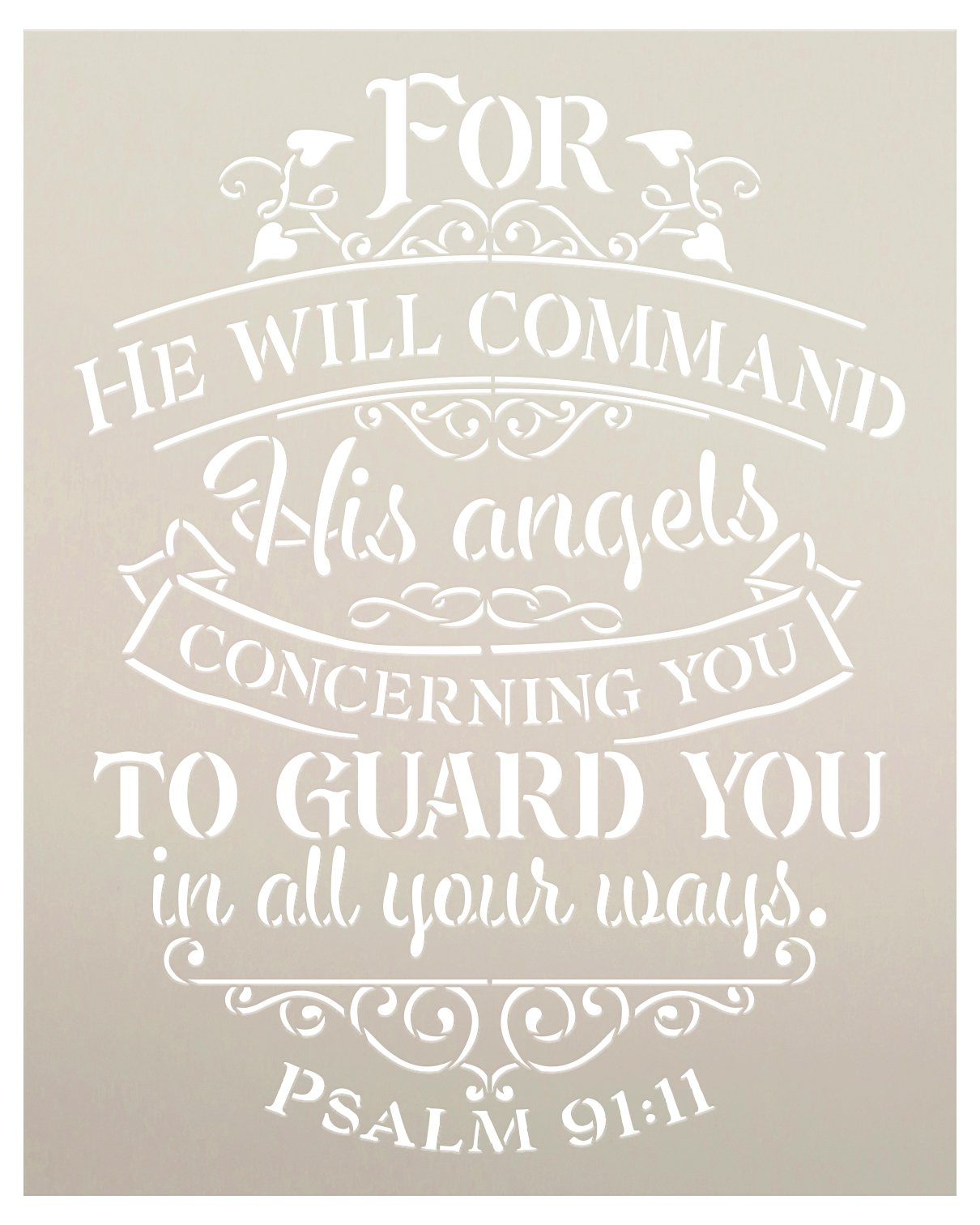 His Angels Will Guard You Stencil by StudioR12 | Psalm 91:11 Bible Verse Word Art | DIY Inspirational Faith Home Decor | Select Size