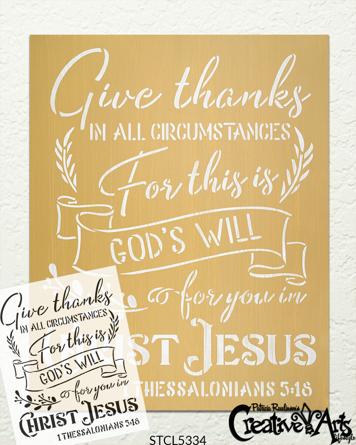 Give Thanks in All Circumstances Stencil by StudioR12 | 1 Thessalonians 5:18 Bible Verse Word Art | DIY Faith Decor | Select Size