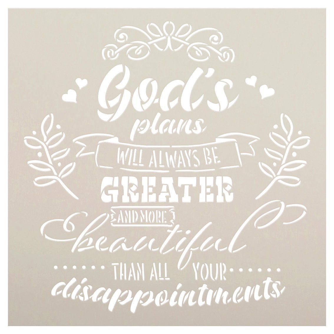 God's Plans are Greater Than Disappointments Stencil by StudioR12 | DIY Script Faith Home Decor | Paint Rustic Wood Signs | Select Size