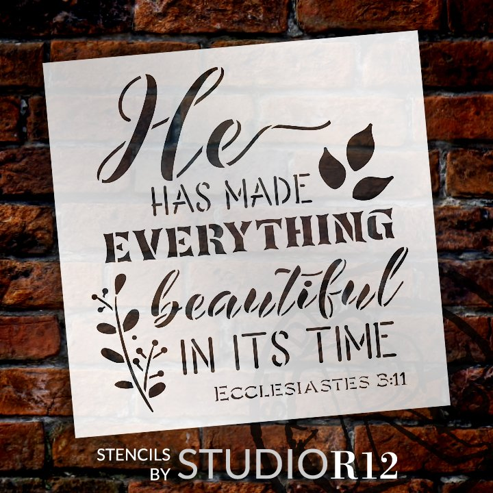 He Has Made Everything Beautiful Stencil by StudioR12 | Ecclesiastes 3:11 Bible Verse Word Art | DIY Faith Home Decor | Select Size