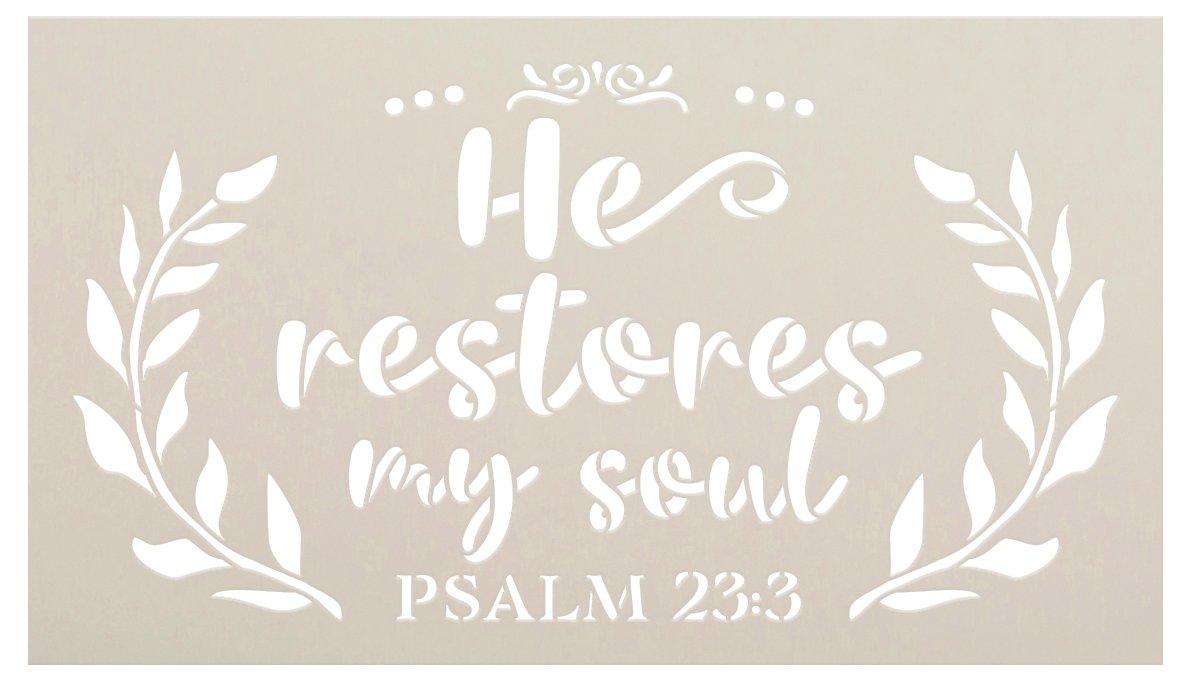 He Restores My Soul Script Stencil by StudioR12   Psalm 23:3 Bible Verse   DIY Faith Home Decor   Paint Wood Signs   Select Size