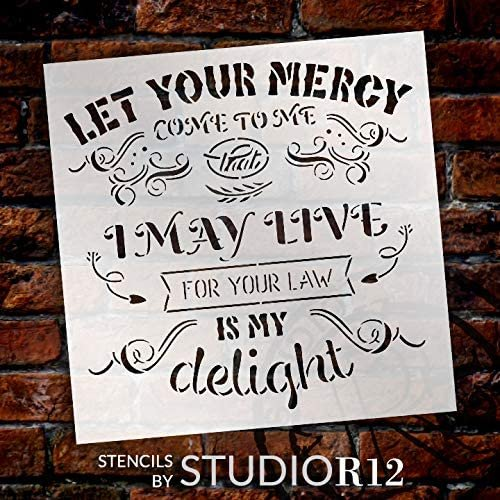 for Your Law is My Delight Stencil by StudioR12   DIY Faith Quote Home Decor   Craft & Paint Farmhouse Wood Signs   Select Size