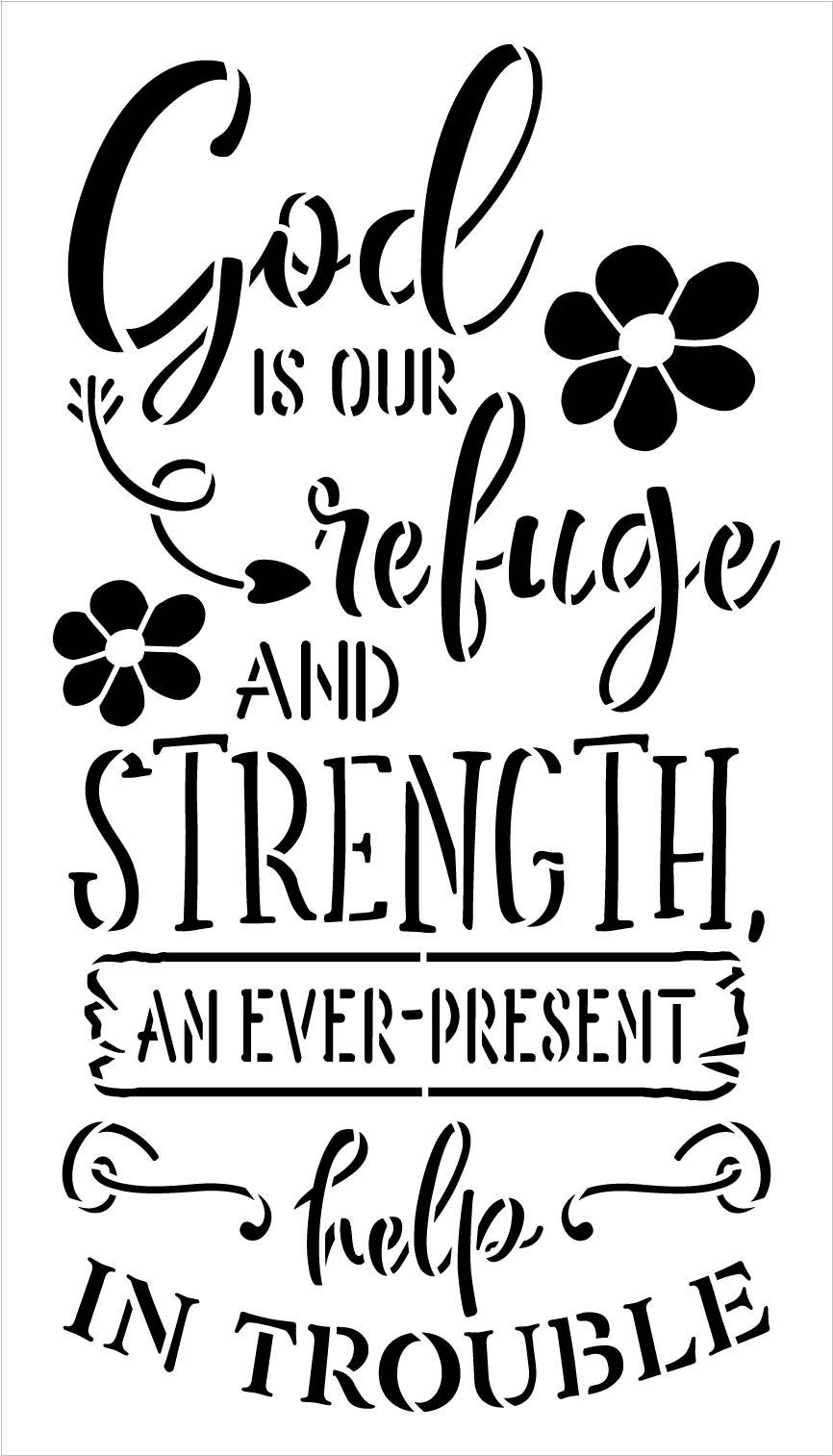God is Our Refuge and Strength Stencil with Flowers by StudioR12   DIY Faith Word Art Home Decor   Paint Wood Signs   Select Size