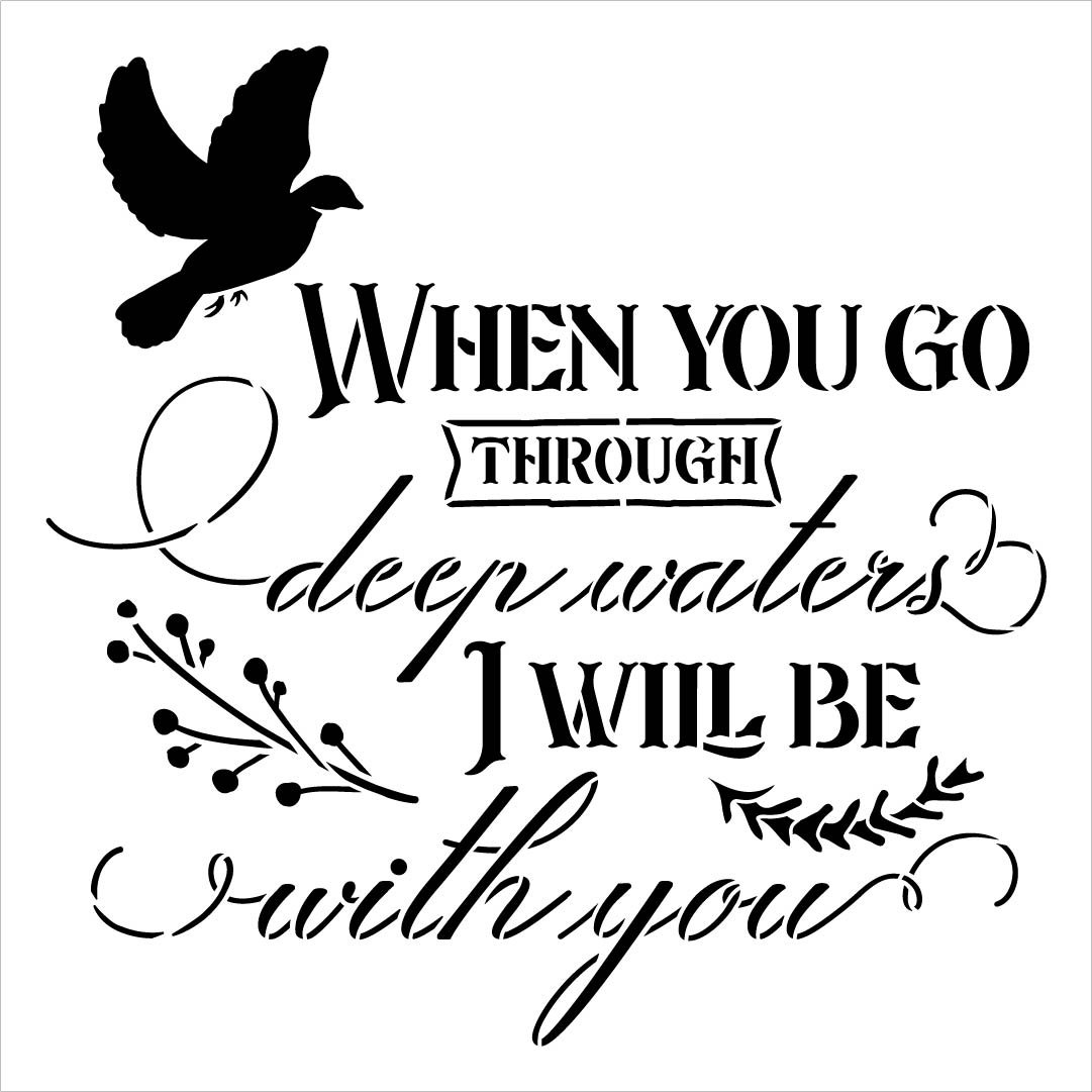 Through Deep Waters I Will Be with You Stencil by StudioR12 | DIY Faith Script Word Art Home Decor | Paint Wood Signs | Select Size