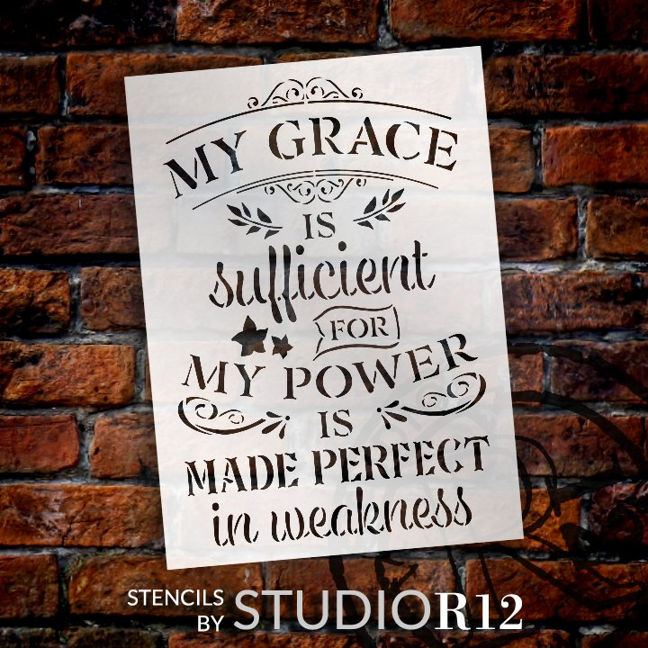 My Grace is Sufficient Stencil by StudioR12   DIY Embellished Faith Home Decor   Paint Inspirational Wood Signs   Select Size (22.5 x 16.25 inch)
