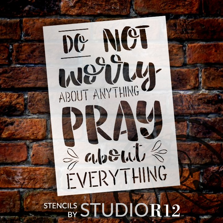 Pray About Everything Stencil by StudioR12   DIY Inspirational Faith Quote Home Decor   Craft & Paint Wood Signs   Select Size