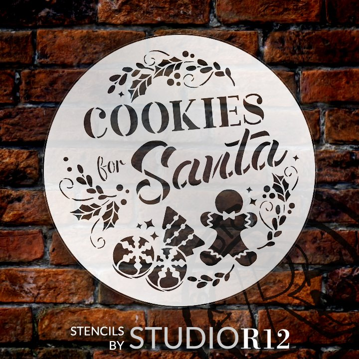 Cookies for Santa Round Stencil by StudioR12 | DIY Christmas Kitchen Home Decor | Craft & Paint Farmhouse Wood Signs | Select Size