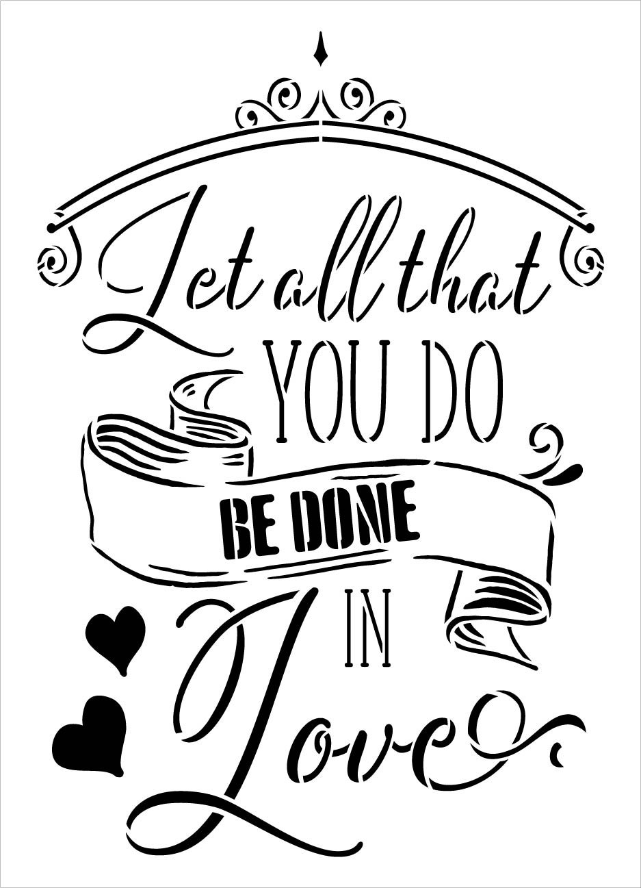 Let All That You Do Be Done in Love Stencil by StudioR12 | DIY Faith Script Word Art Home Decor | Paint Wood Signs | Select Size