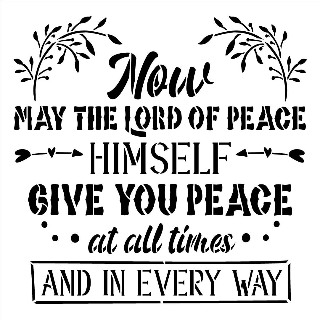 Now May The Lord Give You Peace Stencil by StudioR12 | DIY Inspirational Home Decor | Craft & Paint Faith Wood Signs | Select Size
