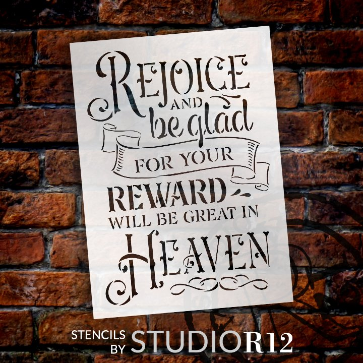Rejoice and Be Glad Stencil by StudioR12 | DIY Faith Quote Home Decor | Craft & Paint Inspirational Wood Signs | Select Size