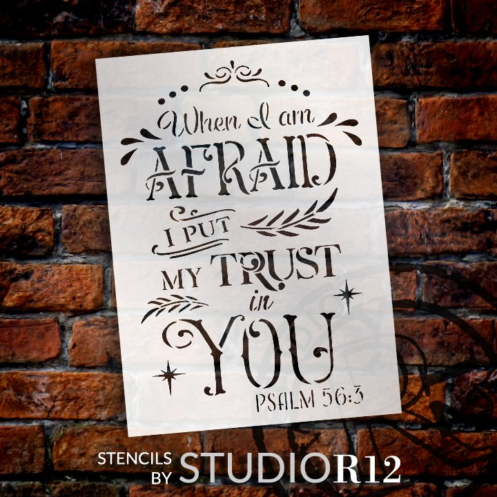 I Put My Trust in You Stencil by StudioR12   Psalm 56:3 Bible Verse Word Art   DIY Farmhouse Faith Quote Home Decor   Select Size
