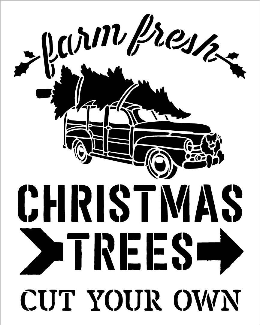 Farm Fresh Christmas Trees Stencil by StudioR12 | Vintage Truck & Arrow | DIY Farmhouse Christmas Decor | Cut Your Own | Select Size