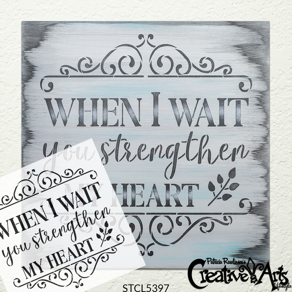 When I Wait You Strengthen My Heart Stencil by StudioR12   DIY Inspirational Quote Home Decor   Paint Faith Wood Signs   Select Size