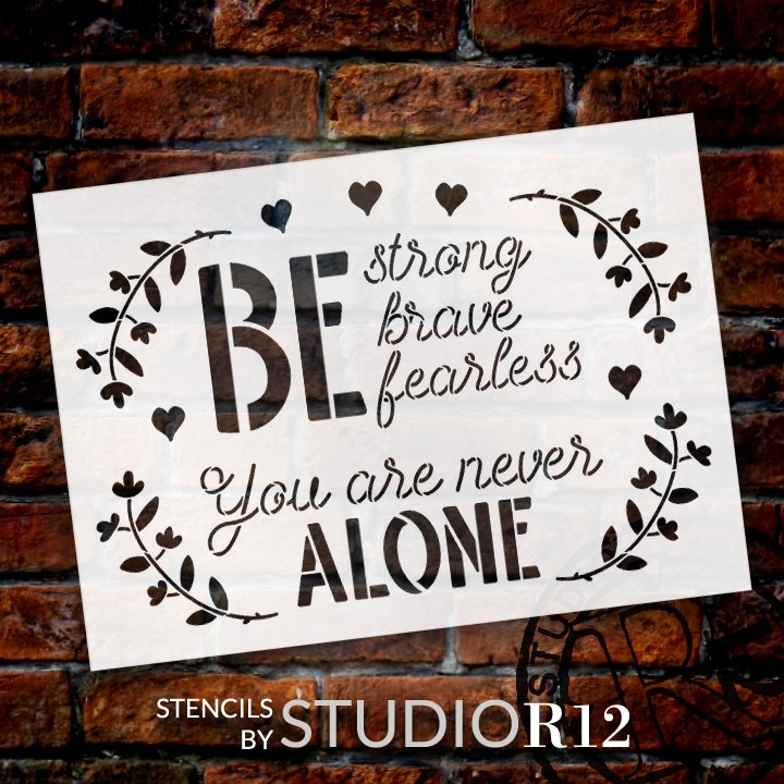You are Never Alone Stencil with Hearts by StudioR12 | DIY Inspirational Farmhouse Home Decor | Paint Wood Signs | Select Size