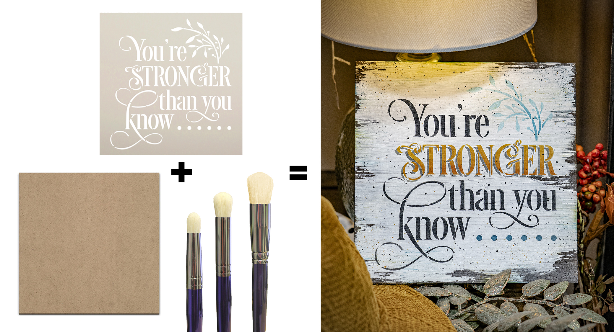 You Are Stronger Than You Know Set | Stencil (STCL5406), Wood Surface, 3-piece Dome Brush Set | SELECT SIZE | CMBN493