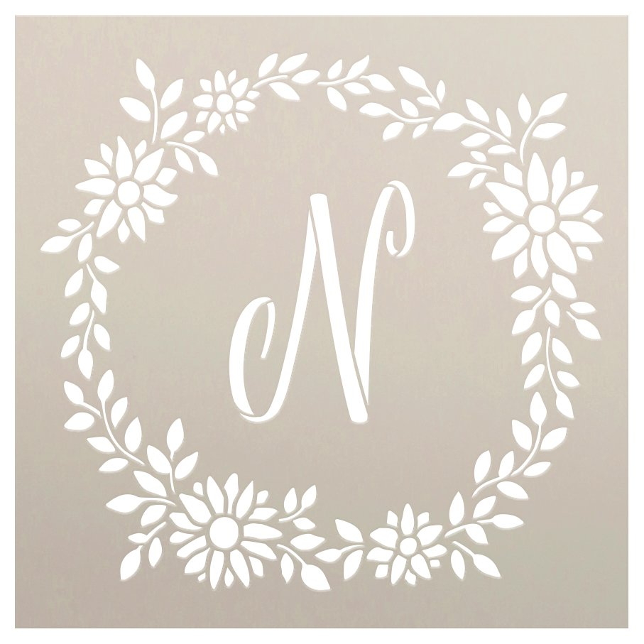 Daisy Script Monogram Stencil with Wreath by StudioR12 | DIY Bohemian Home Decor | Craft & Paint Boho Wood Signs | Select Size & Letter