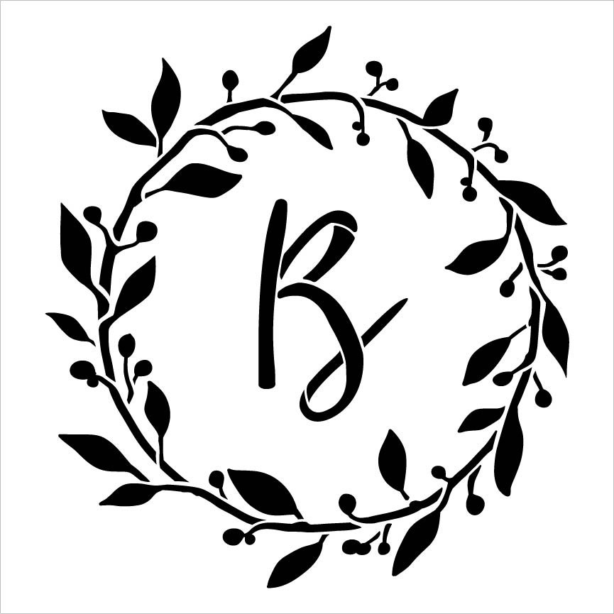 Cursive Monogram Stencil with Leaf & Berries by StudioR12 | DIY Farmhouse Home Decor | Craft & Paint Wood Signs | Select Size & Letter