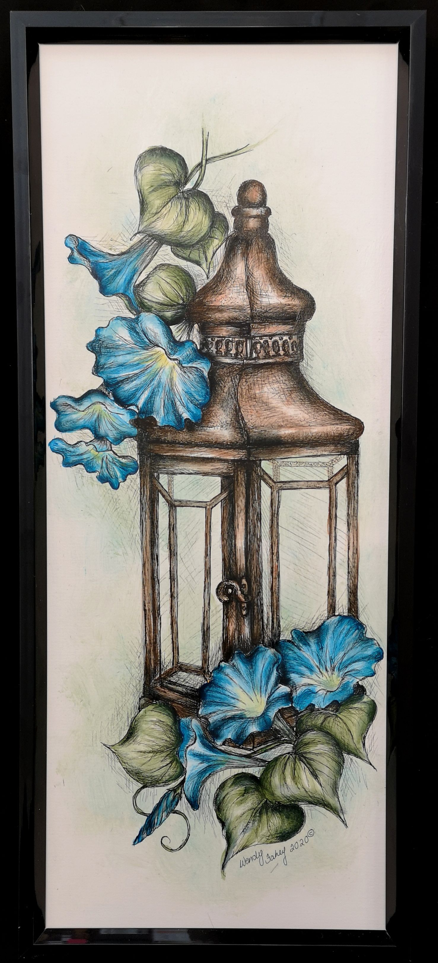 Lantern With Morning Glories - E-Packet - Wendy Fahey