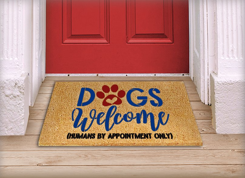 Dogs Welcome Stencil with Paw Print by StudioR12   Humans by Appointment   Craft DIY Doormat   Funny Script Word Art   Select Size