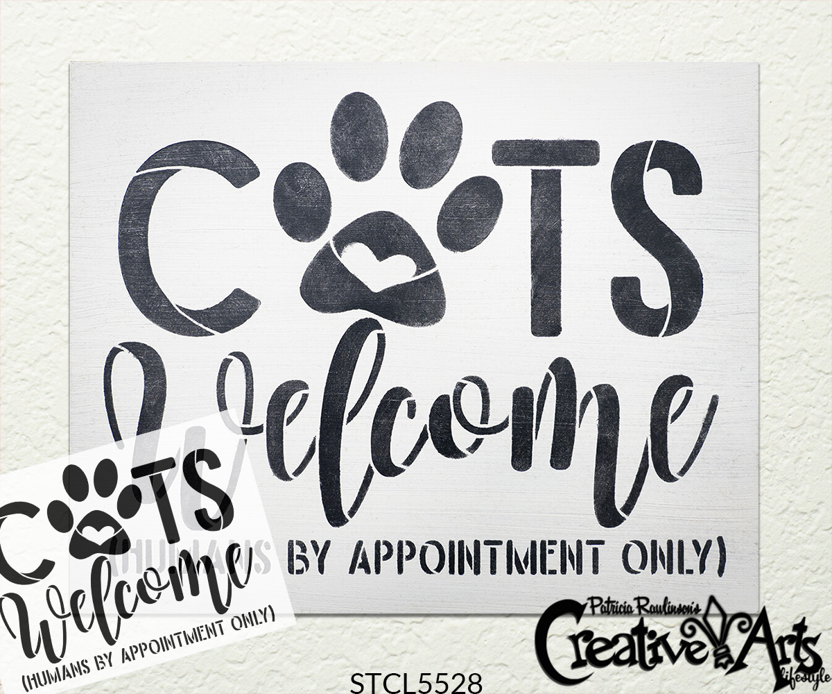 Cats Welcome Stencil with Paw Print by StudioR12 | Humans by Appointment | Craft DIY Doormat | Funny Script Word Art | Select Size