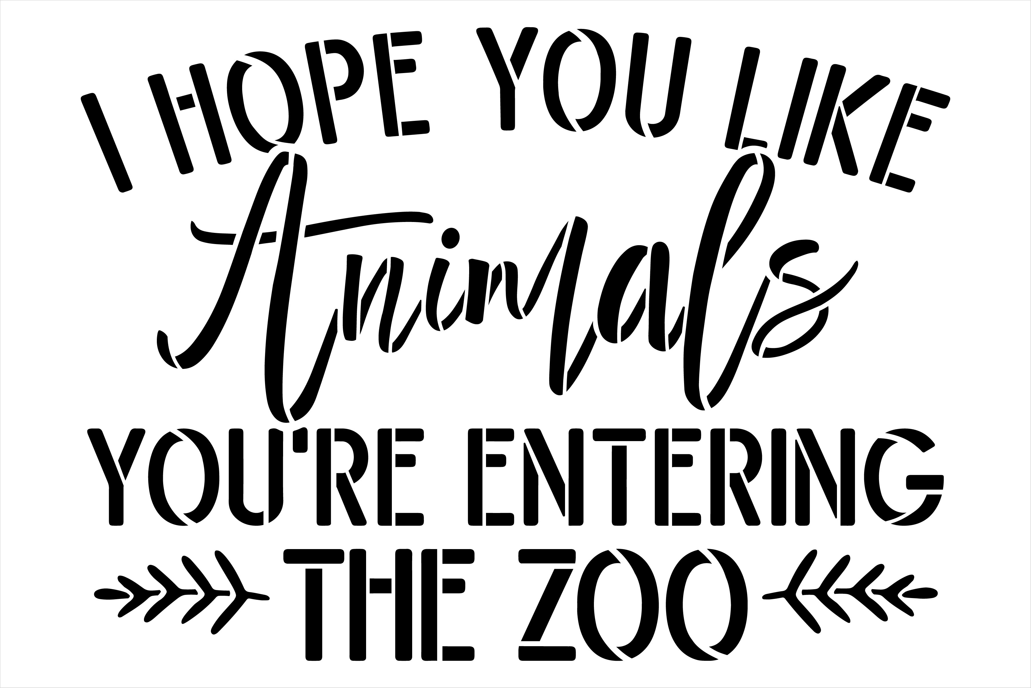 You're Entering The Zoo Stencil by StudioR12   Funny Pet & Animal Lover Word Art   Craft & Paint DIY Welcome Doormat   Select Size