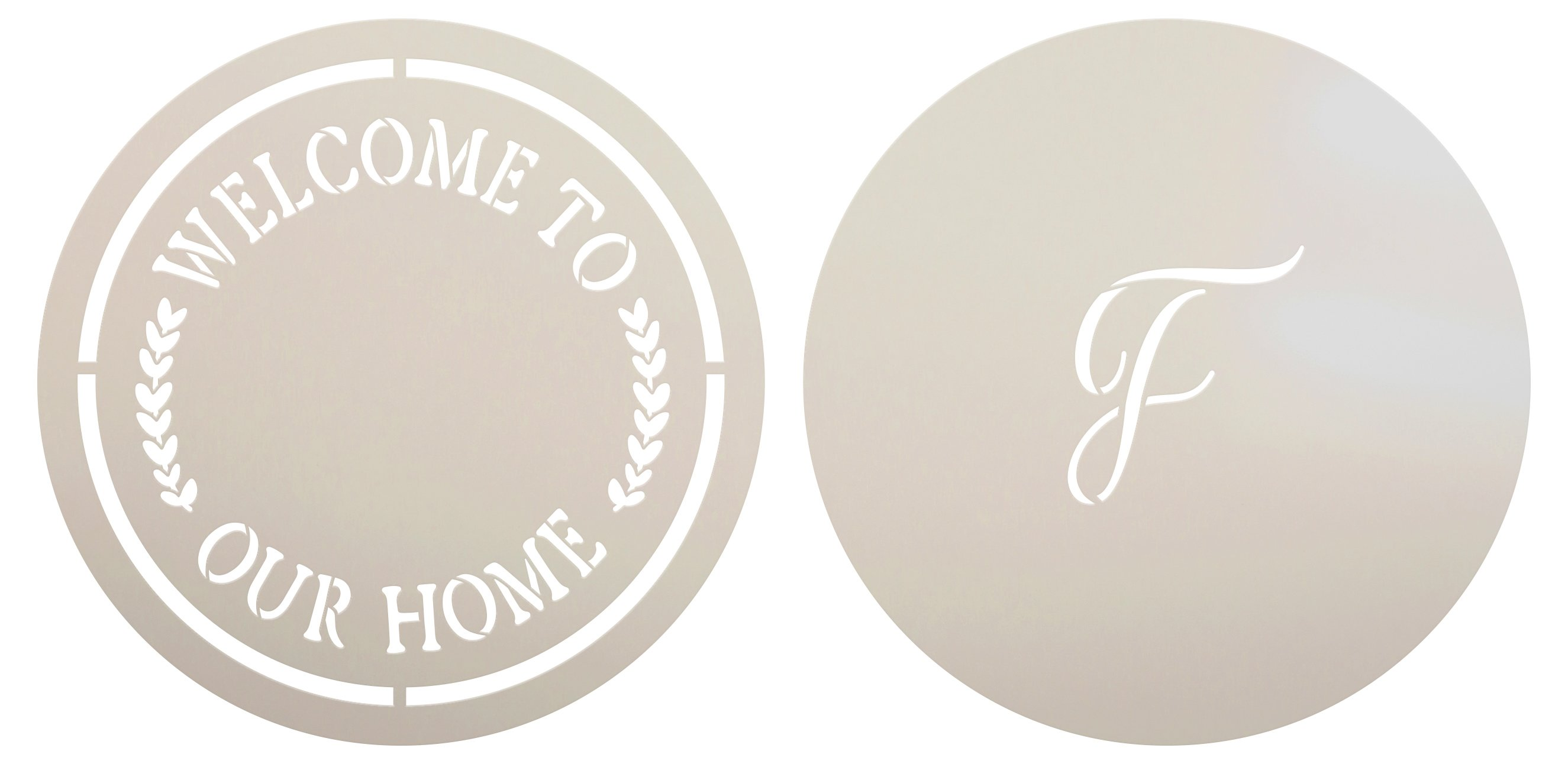 Welcome to Our Home Round Stencil with Monogram by StudioR12   DIY Farmhouse Home Decor   Craft & Paint Doormats   Select Size