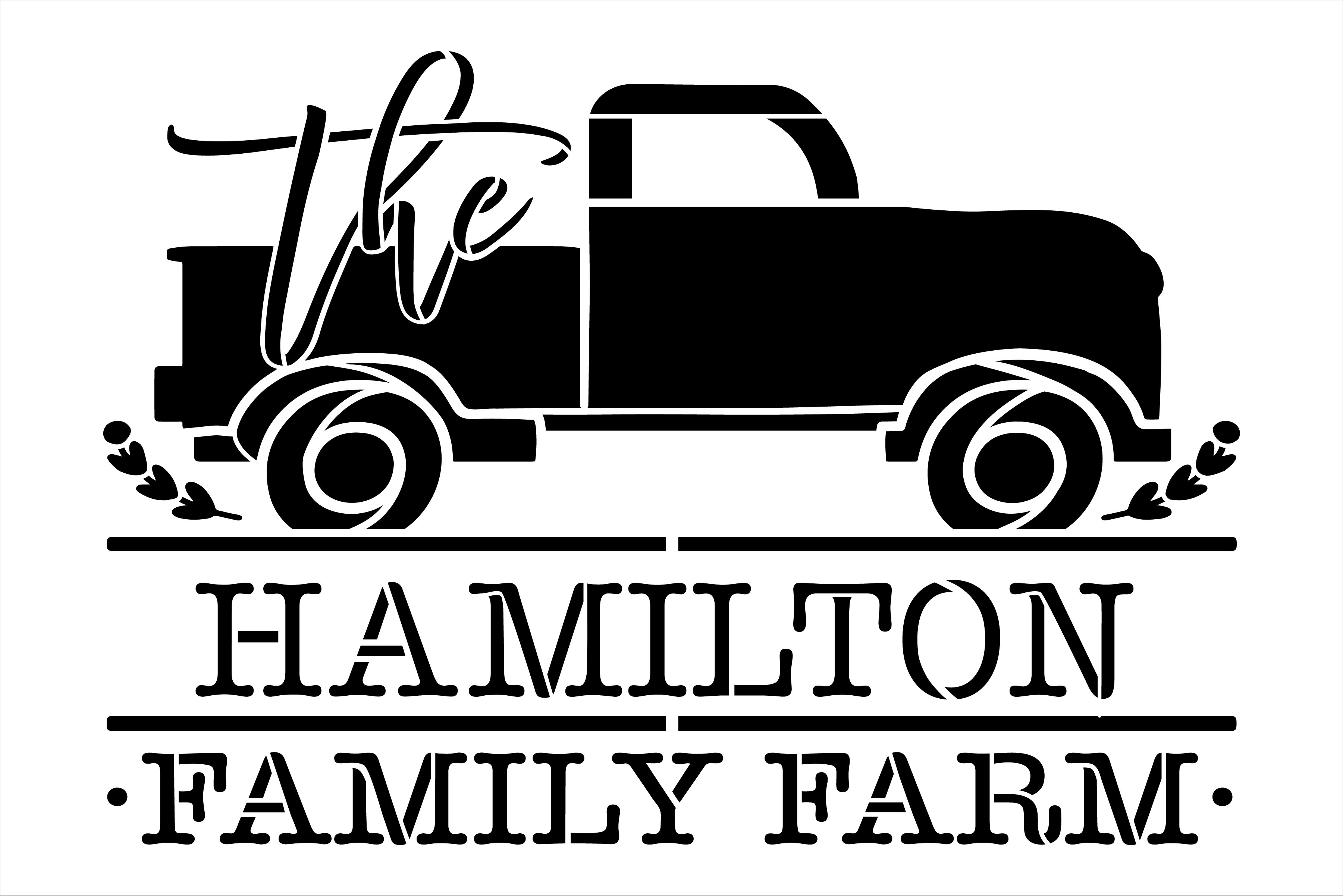 Personalized Family Farm Stencil with Vintage Truck by StudioR12 | DIY Doormat | Craft & Paint Farmhouse Home Decor | Select Size